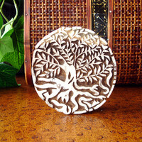 Tree Stamp: Hand Carved Wood Stamp, Large Tree of Life Round Wooden Printing Block, Textile Stamp from India