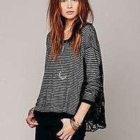 Free People  Boxy Pieced Lace Pullover at Free People Clothing Boutique
