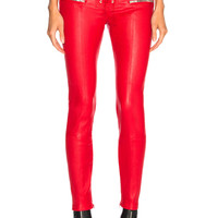 Unravel Leather Lace Up Seam Pants in Red | FWRD