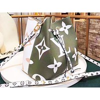 LV hot selling casual print color shopping bag fashionable lady shoulder bag Green+White