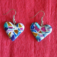 colorful polymer clay heart earrings,colorful jewelry,colorful summer earrings,affordable jewelry,gift for her,boho earrings,hippie earrings