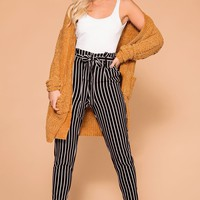 Ness Black Striped Tie-Front Pants