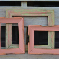 Mint Green/Peach Frames lot of 3 distressed home decor wall hangings wedding decor