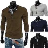 Two Layered Design Men's Slim Fit Henley Tee