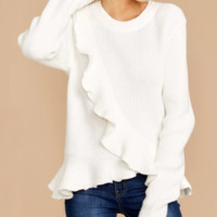 New solid color ruffled knit sweater