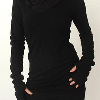 Black Long Sleeve Hooded Dress with Thumb Holes