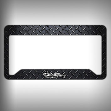 Dark Diamond Plate Custom Licence Plate Frame Holder Personalized Car Accessories