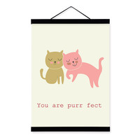 Cartoon Kawaii Animal Cute Cats Wooden Framed Canvas Painting Kids Baby Room Decor Nuresery Wall Art Print Picture Poster Hanger