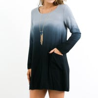 Malibu Sea Breeze Long Sleeve Twill Ombre Dress