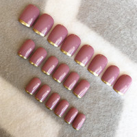 Deep Pink Matte Squoval Faux Nails * Gold Tips * Squoval Nails * Fake Nails * Press On Nails * Pink Nails * Gloss Nails * Matte Nails