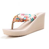 Designer Women Wedge Flip Flops Summer Leopard Slippers Platform Sandals SEXY 2017 Slides Women High Heel Sandals
