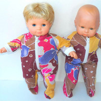 """American Girl Bitty Baby Clothes 15"""" Doll Clothes Brown Pink Floral Feetie Cotton Knit Zip Up Pajamas Pjs Sleeper -Thanksgiving"""