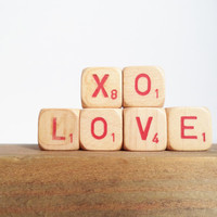 Vintage Letter Cubes LOVE XO  Home Decor Wooden Red Supplies Crafts Gift Idea Wedding Valentines Day
