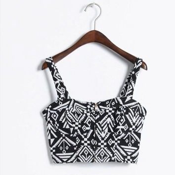 Tribal Print Bralet Crop Top With Front Zipper