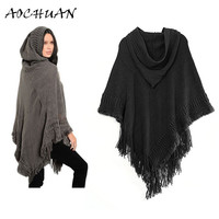 2017 New Autumn Warm Winter Hoodies Scarf Casual Loose Knitted Hooded Solid Hollow Tassel Women Poncho Shawls Scarves Wraps W73