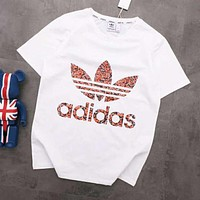 ADIDAS Trending Women Men Stylish Clover Print Round Collar T-Shirt Top White