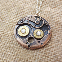 steampunk bullet necklace, watch movement necklace, gun steam punk jewelry, vintage style necklace, gothic goth, country southern, pistol