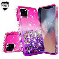 Apple iPhone 11 Case Liquid Glitter Phone Case Waterfall Floating Quicksand Bling Sparkle Cute Protective Girls Women Cover for iPhone 11 W/Temper Glass -  (Hot Pink/Purple Gradient)