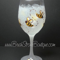 Hand Painted Wine Glass - Bumble Bee White - Original Designs by Cathy Kraemer