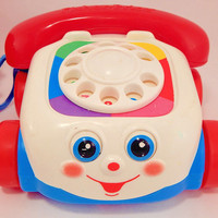 Fisher Price Phone Pull Toy Vintage 1993 Classic Retro Bell Dial Wobble Eye Chatter Phone Preschooler Toddler Baby Toy