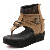 Patchwork Wedge Sandals