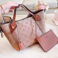 LV hot selling ladies solid color boring embossed LOGO two-piece set of hand bill of lading shoulder bag