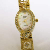 Vintage GRUEN ladies rhinestones watch ladies gold filigree quartz watch retro cocktail watch