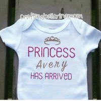 Princess Has Arrived  Personalized  Baby Girl Onesuit - Glitter - Gold Hot Pink - Baby Shower - Funny Baby Onesuit - Newborn Onesuit - Crown