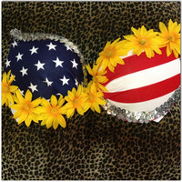 American Flag and Yellow Bombshell Padded/Push-up Version Edc Rave Wear