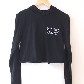 Self-Love Advocate Black Cropped T-Shirt Hoodie