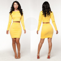 Yellow Long Sleeve Cropped Top and Bodycon Mini Skirt