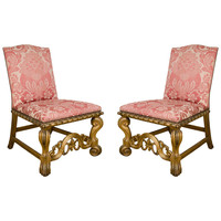 Pair of Anglo-Italian Giltwood Side Chairs