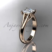"""14kt rose gold diamond unique engagement ring, wedding ring, solitaire ring with a """"Forever Brilliant"""" Moissanite center stone ADER143"""