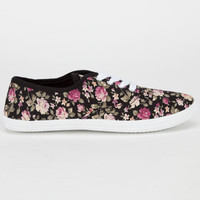 Full Tilt Womens Lace Up Shoes Black Floral  In Sizes