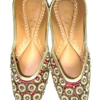 Womens Flats Shoes Maroon Golden Beads Embroidered Indian Ethnic Punjabi Jutti