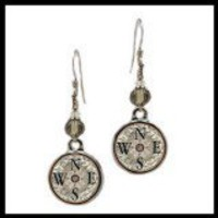 Compass Crystal Beaded Circle Earrings - Spirit Lala Store