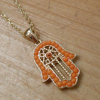 Gold Hamsa Hand necklace   Candy's Cottage