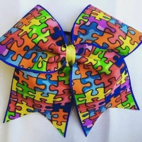 CHEER BOW - AUSTISM AWARENESS - PUZZLE PIECES - BIG 3 inch wide base cheer bow - Team bulk order by request