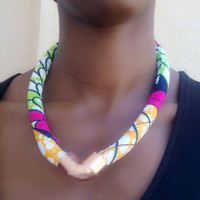 Pink green yellow white Ankara Dutch wax African print Vlisco kitenge chitenge fabric rope bib tribal statement necklace.