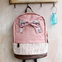 Pink Lace Backpack With Bow from tulitajean