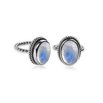 """AR-6090-RM-7"""" Sterling Silver Ring With Rainbow Moonstone"""