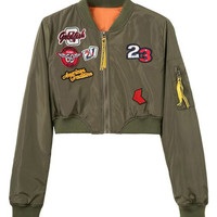 Oliver Green Patches Cropped Bomber Jacket