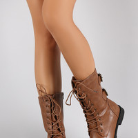 Buckled Combat Lace Up Mid Calf Boots