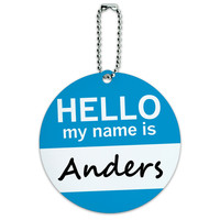 Anders Hello My Name Is Round ID Card Luggage Tag