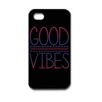 CRHK® GOOD VIBES Design#12 Case Hard Back Cover for Apple Iphone 4 4s + Screen Protector + CRHK Stylus