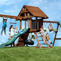 Kid's Creations Two Ring Deluxe with Monkey Bars Redwood Swing Set