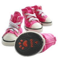 Hot Pink/Dark Blue Puppy Pet Dog Denim Shoes Sport Casual Anti-slip Boots Sneaker Shoes 4PCS [8383884359]
