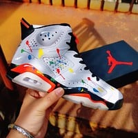 Air Jordan 6 3M Dazzle Color Splash-Ink Fashion Men Women Casual Sport Basketball Shoes Sneakers