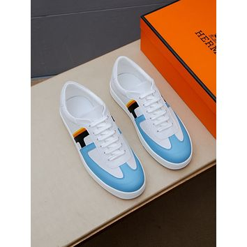 HERMES  Men Fashion Boots fashionable Casual leather Breathable Sneakers Running Shoes01CX