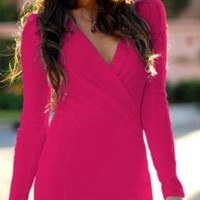 Fuchsia Pink Cross Wrap Ruched Plunge V Neck Fitted Long Sleeve Mini Dress